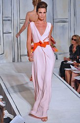 Oscar de la Renta white with orange sash